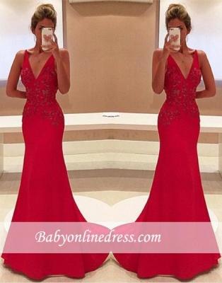 2018 Elegant Long Red V-Neckline Appliques Sleeveless Two-Straps Prom Dress_3