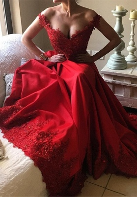 Red Lace Off-the-Shoulder Evening Gowns | Off-the-Shoulder Beading Prom Dresses_2