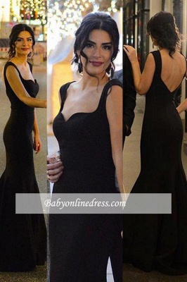 Long Mermaid Sleeveless Black Sexy Backless Evening Gowns_1