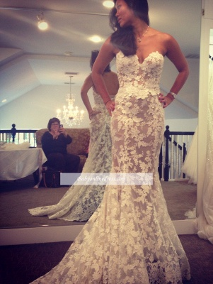 Lace Elegant Sweetheart White A-line Wedding Dresses_1