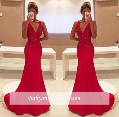 2018 Elegant Long Red V-Neckline Appliques Sleeveless Two-Straps Prom Dress_1