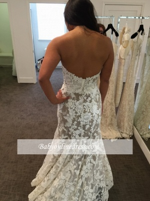 Lace Elegant Sweetheart White A-line Wedding Dresses_3