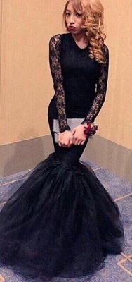 Black Lace Mermaid Prom Dresses Long Sleeves Open Back Long Sexy Evening Gowns_1
