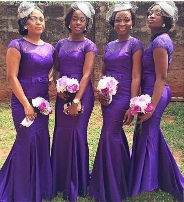 Popular Purple Short Sleeves Mermaid Beadings Bow Bridesmaid Dresses_3
