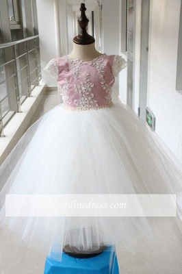 Pink Tulle Short-Sleeves Appliques Flower Gril Dresses with Beadings_3