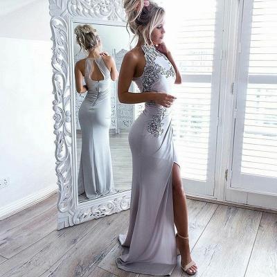 Chic Grey Slit Evening Gowns | Halter Neck Appliques Formal Dresses_3