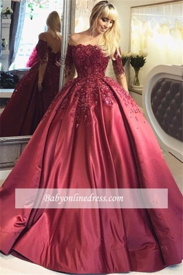 Burgundy Prom Dresses Long Sleeves Ball Off-the-Shoulder Formal Gown_5