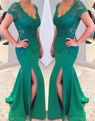 Green Short Sleeves V-neckline Evening Gowns 2018 Mermaid Applique Lace Prom Dress_2