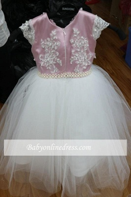 Pink Tulle Short-Sleeves Appliques Flower Gril Dresses with Beadings