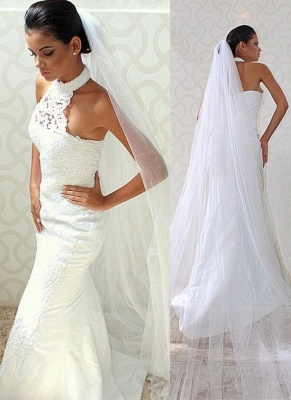 Court train Sexy Sleeveless Mermaid Halter Lace Wedding Dresses_2