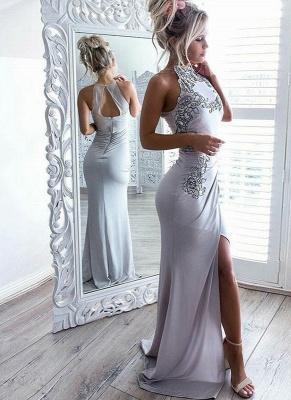 Chic Grey Slit Evening Gowns | Halter Neck Appliques Formal Dresses_1