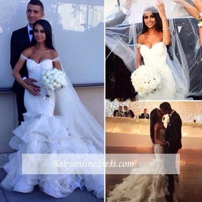 Elegant Crystal Ruffles Mermaid Sweetheart Wedding Dresses_1