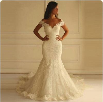 Off-The-Shoulder Mermaid Lace-Applique Elegant Wedding Dresses_4