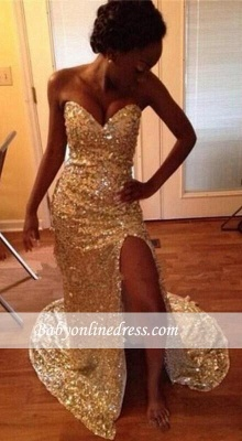 Mermaid Sparkly Sequins Sweetheart Gold Split Prom Dresses_3