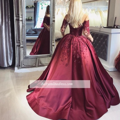 Burgundy Prom Dresses Long Sleeves Ball Off-the-Shoulder Formal Gown_3