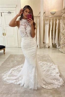Graceful High Neck Lace Mermaid Fitted Chapel Train Wedding Dresses_2