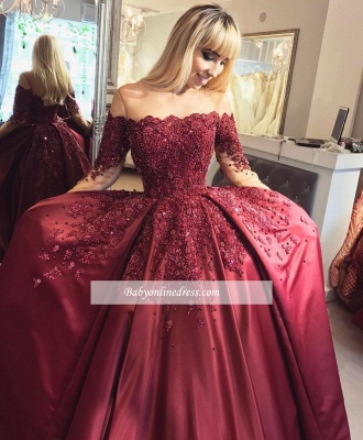 Burgundy Prom Dresses Long Sleeves Ball Off-the-Shoulder Formal Gown_4