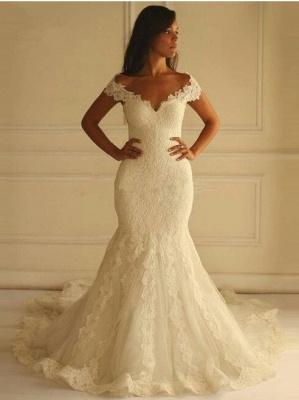 Off-The-Shoulder Mermaid Lace-Applique Elegant Wedding Dresses_2