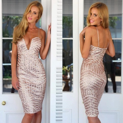 Sexy Sheath Sequined Homecoming Dresses Spaghetti Straps Knee Length Cocktail Dress_3