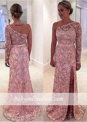 Pink Long Sleeve Pattern Evening Gowns 2018 Long One-Shoulder Prom Dress_3