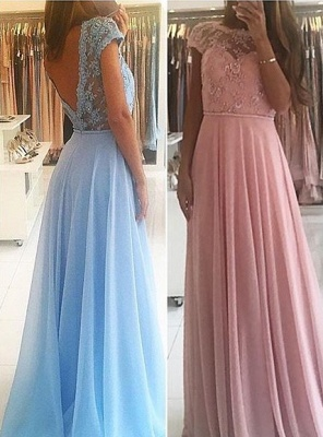 Chic A-line Chiffon Lace Prom Dresses Short Sleeves Floor-length Evening Gowns_5