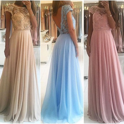 Chic A-line Chiffon Lace Prom Dresses Short Sleeves Floor-length Evening Gowns_3