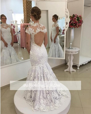 Mermaid Zipper Newest Lace Pearls High-Neck Appliques White Wedding Dress_1