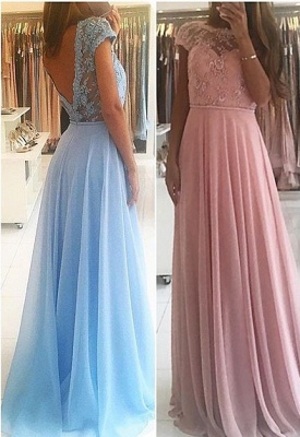 Chic A-line Chiffon Lace Prom Dresses Short Sleeves Floor-length Evening Gowns_4