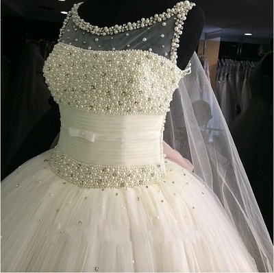Gorgeous Princess Sleeveless Bridal Gowns Tulle Pearls Beadings Wedding Dresses_4
