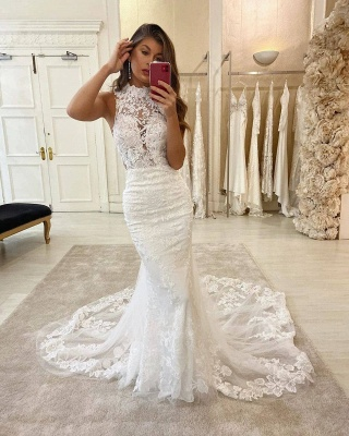Graceful High Neck Lace Mermaid Fitted Chapel Train Wedding Dresses