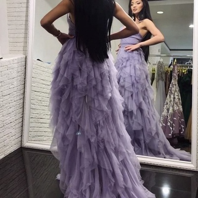 Romantic Lavender Layered Prom Dresses | Spaghettis Straps Slit Party Gowns_3