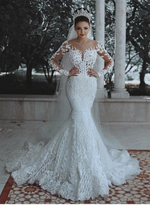 Fashion Jewel Long Sleeve Applique Crystal Mermaid Wedding Dresses_1