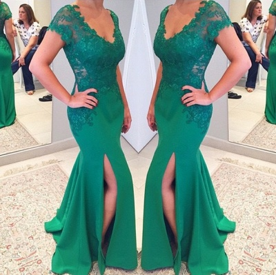 Green Short Sleeves V-neckline Evening Gowns 2018 Mermaid Applique Lace Prom Dress_3