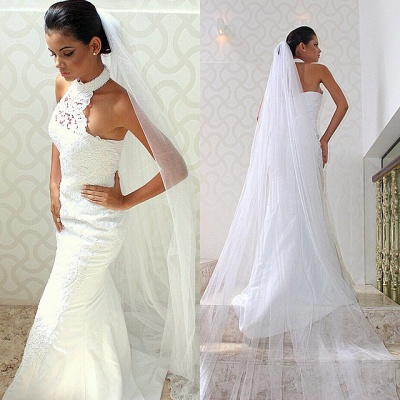 Court train Sexy Sleeveless Mermaid Halter Lace Wedding Dresses_3