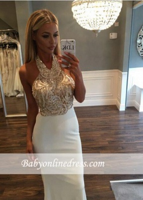 Sequined Newest Mermaid Sweep-Train Halter Sleeveless Prom Dress_3