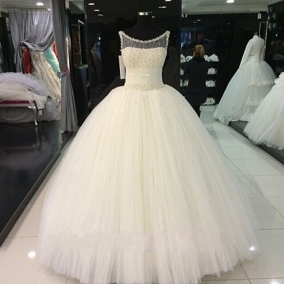 Gorgeous Princess Sleeveless Bridal Gowns Tulle Pearls Beadings Wedding Dresses_3