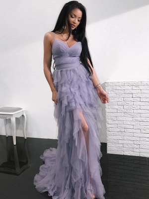 Romantic Lavender Layered Prom Dresses | Spaghettis Straps Slit Party Gowns_1