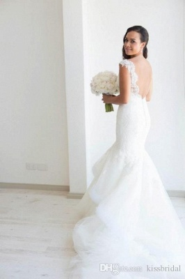 White Lace Mermaid Vintage Wedding Dresses | Vintage Tulle Backless Bridal Gowns_4