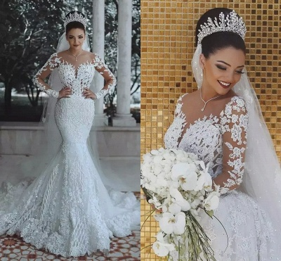Fashion Jewel Long Sleeve Applique Crystal Mermaid Wedding Dresses_4