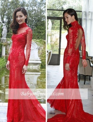 Red Lace High-Neck Evening Gowns Mermaid Long-Sleeve Prom Dress_1