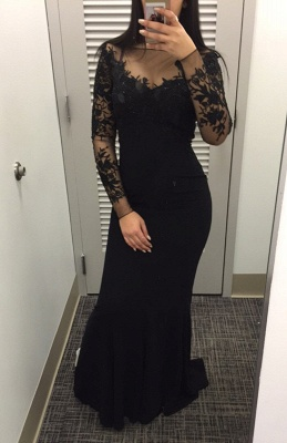 2018 Black Mermaid Long-Sleeves Lace Appliques Prom Dress_2