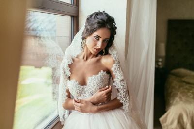 Elegant Lace Sweetheart Princess Tulle Beadings Wedding Dresses_6