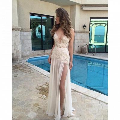 2018 Sexy Deep V-Neck Sheer Long Side Split Lace Appliques Prom Dresses BA3781_3