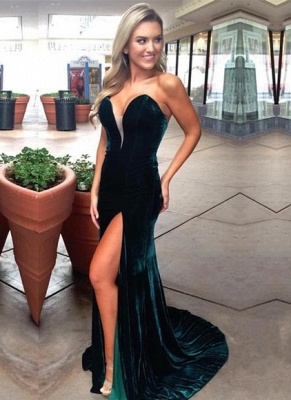 Dark Green Velvet Prom Dresses | Sexy Side Slit Evening Gowns_1
