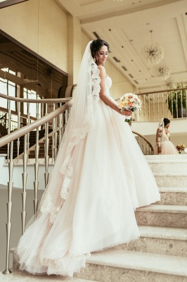 Elegant Lace Sweetheart Princess Tulle Beadings Wedding Dresses_2