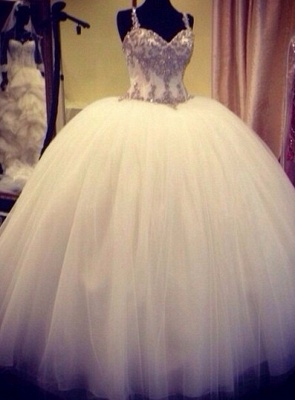 Spaghettis Straps Crystals Beaded Princess Long Ball Gown Wedding Dresses_2