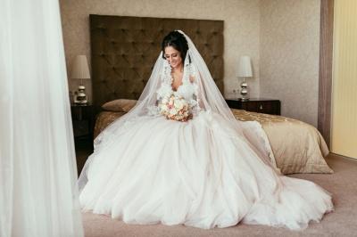 Elegant Lace Sweetheart Princess Tulle Beadings Wedding Dresses_5