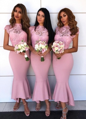 Capped Sleeves Lace Bridesmaid Dresses | Elegant Mermaid Wedding Party Dresses_1