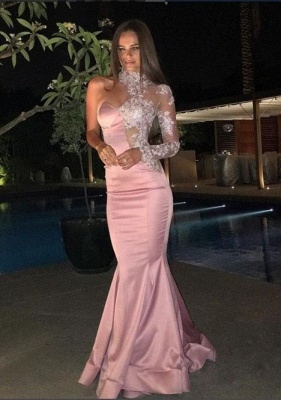 Gorgeous One-Shoulder Prom Dresses   High-Neck Lace Mermaid Evening Dress_3