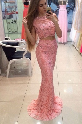 Scoop Cape-shoulder Floor-length Lace Crystal Mermaid Prom Dresses_1